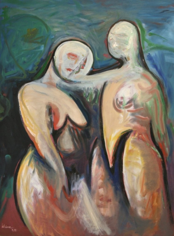 Two Figures Oil on Masonite