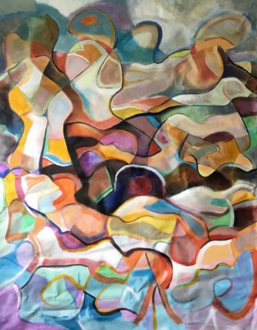 Audience 42x54 acrylic on canvas