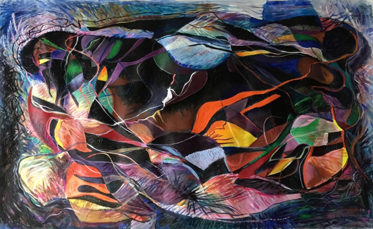 Crow Heart 49x30 acrylic on canvas