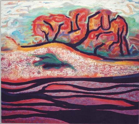Fall Snow 48x36 acrylic on canvas