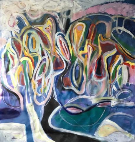Sunny Yard 48x50 acrylic on canvas