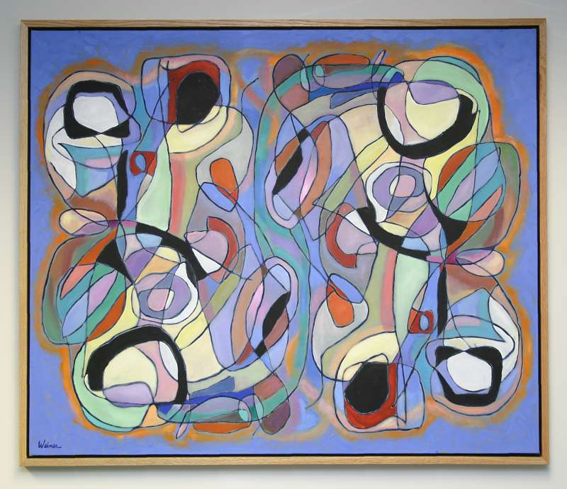 Curved Lines 53.5x44.75 acrylic and oil on canvas