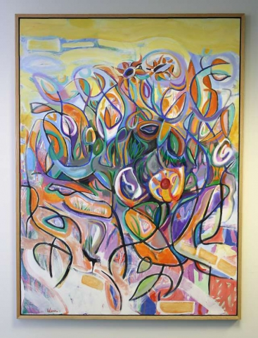 Garden Salad with Tulips 48.25x65.5 acrylic and oil on canvas