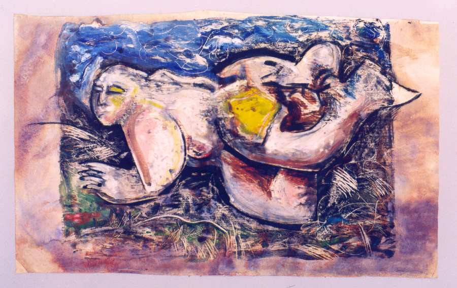 Floating Dream 34x21 oil monoprint and watercolor