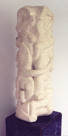 Tower of People, 40 inches tall, plaster and vermiculite