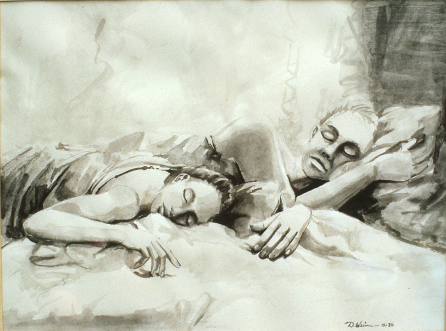 Sleeping Couple 28x19 india ink