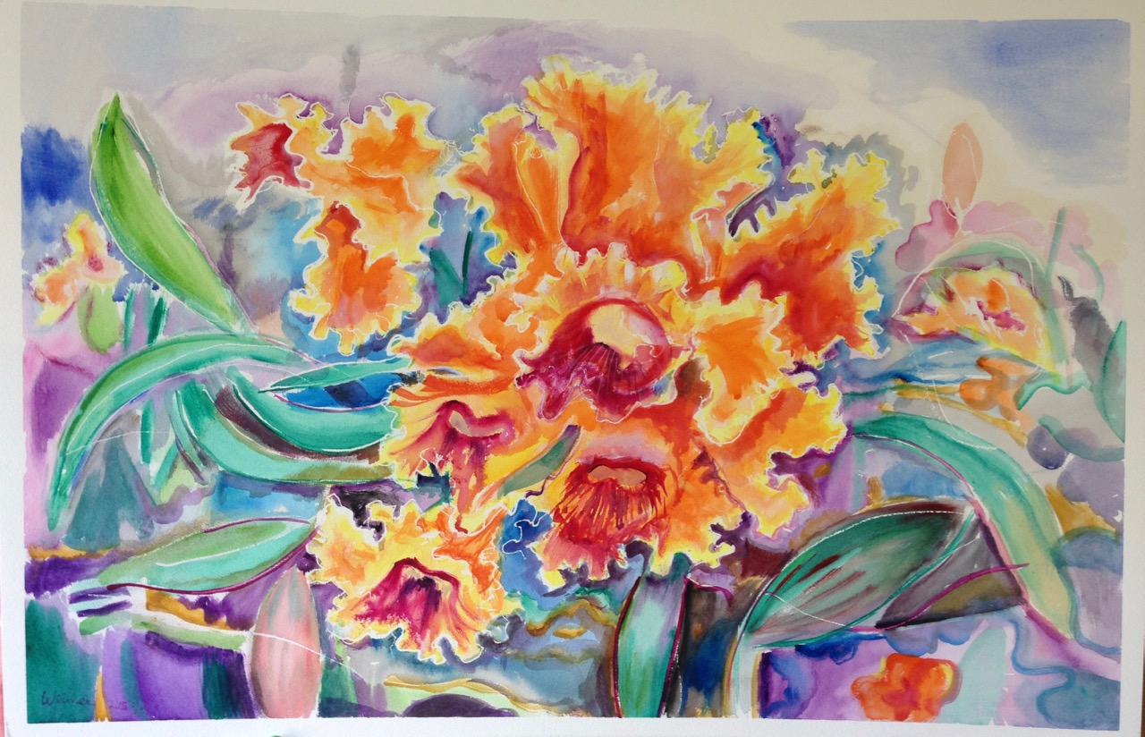 Orchid Show, watercolor, private collection